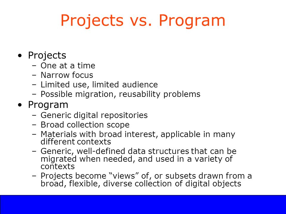 UCLA Digital Library Program Projects vs.