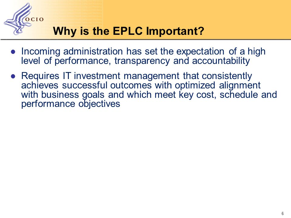 Why is the EPLC Important.