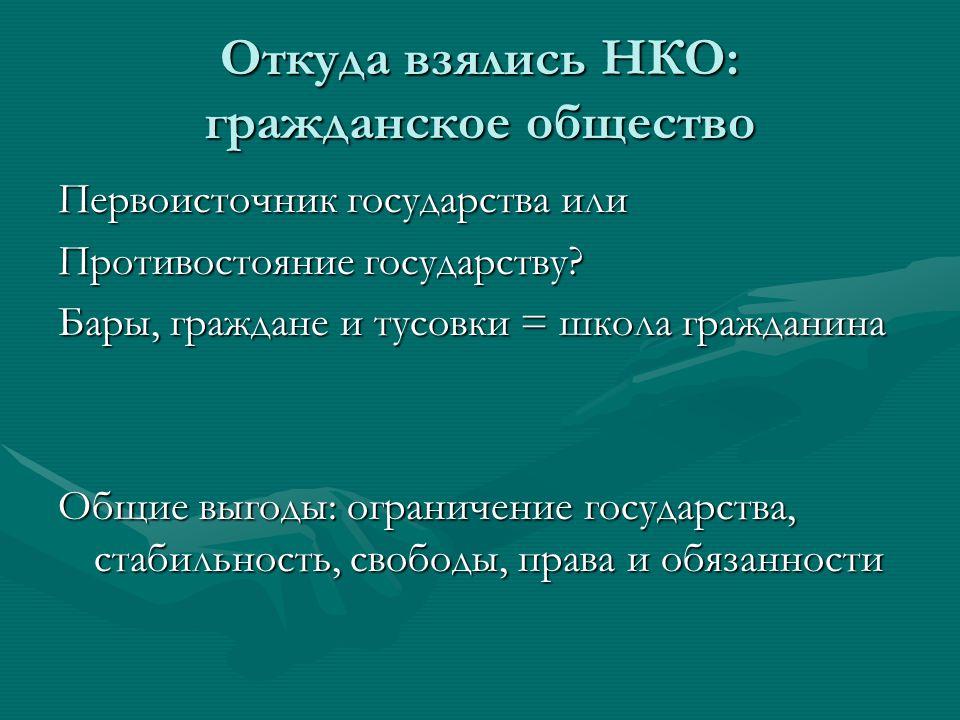 Откуда взялись НКО: гражданское общество Первоисточник государства или Противостояние государству.