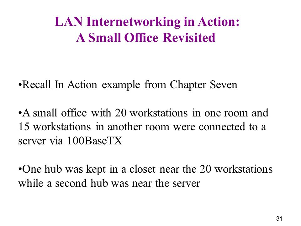 31 LAN Internetworking in Action: A Small Office Revisited Recall In Action example from Chapter Seven A small office with 20 workstations in one room and 15 workstations in another room were connected to a server via 100BaseTX One hub was kept in a closet near the 20 workstations while a second hub was near the server