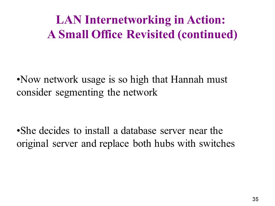 35 LAN Internetworking in Action: A Small Office Revisited (continued) Now network usage is so high that Hannah must consider segmenting the network She decides to install a database server near the original server and replace both hubs with switches