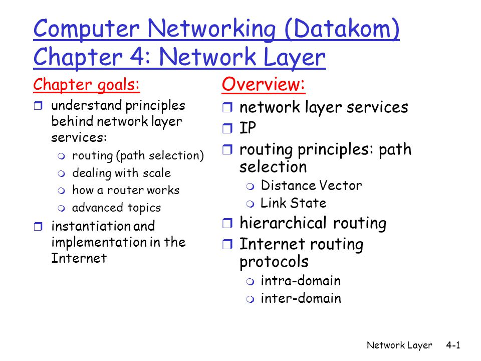 Network Layer4-1 Computer Networking (Datakom) Chapter 4: Network Layer Chapter goals: r understand principles behind network layer services: m routing (path selection) m dealing with scale m how a router works m advanced topics r instantiation and implementation in the Internet Overview: r network layer services r IP r routing principles: path selection m Distance Vector m Link State r hierarchical routing r Internet routing protocols m intra-domain m inter-domain