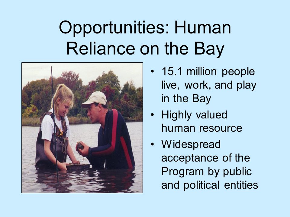 Opportunities: Human Reliance on the Bay 15.1 million people live, work, and play in the Bay Highly valued human resource Widespread acceptance of the Program by public and political entities