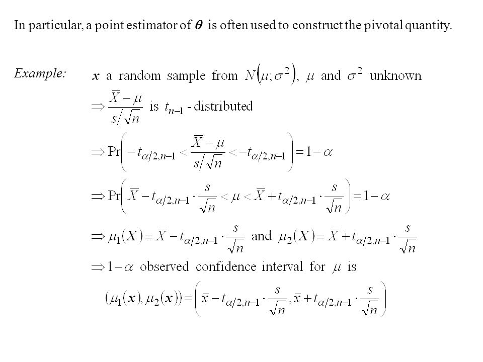 In particular, a point estimator of  is often used to construct the pivotal quantity. Example:
