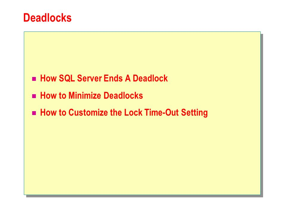 Deadlocks How SQL Server Ends A Deadlock How to Minimize Deadlocks How to Customize the Lock Time-Out Setting