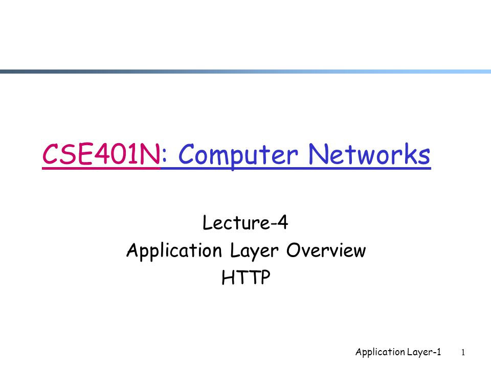Application Layer-11 CSE401N: Computer Networks Lecture-4 Application Layer Overview HTTP