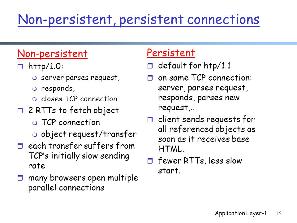 Application Layer-115 Non-persistent, persistent connections Non-persistent r http/1.0: m server parses request, m responds, m closes TCP connection r 2 RTTs to fetch object m TCP connection m object request/transfer r each transfer suffers from TCP's initially slow sending rate r many browsers open multiple parallel connections Persistent r default for htp/1.1 r on same TCP connection: server, parses request, responds, parses new request,..