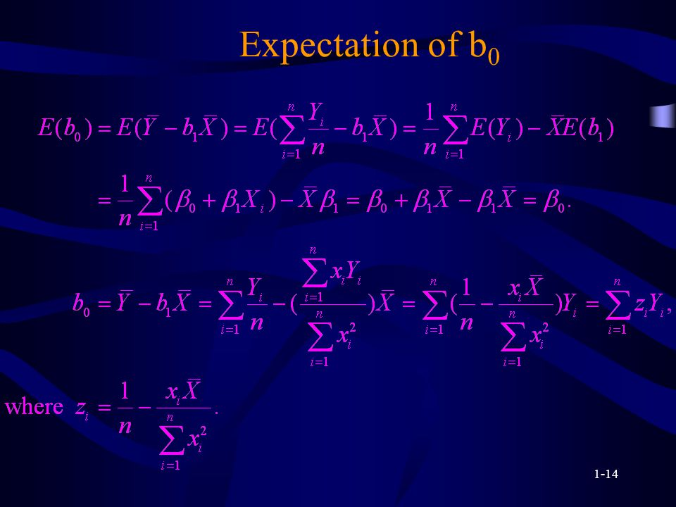1-14 Expectation of b 0