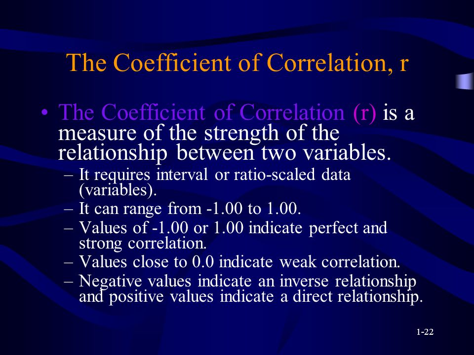 1-22 The Coefficient of Correlation, r The Coefficient of Correlation (r) is a measure of the strength of the relationship between two variables.