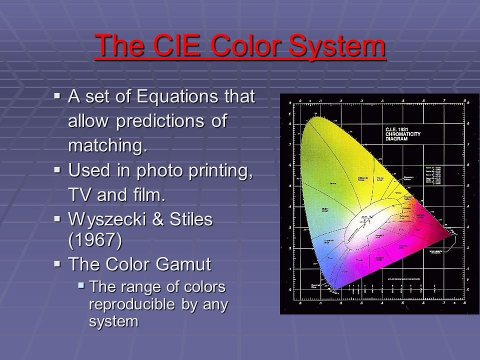 The CIE Color System The CIE Color System  A set of Equations that allow predictions of matching.