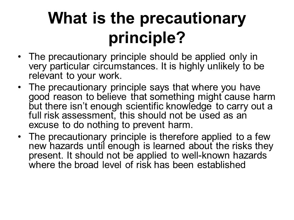 What is the precautionary principle.