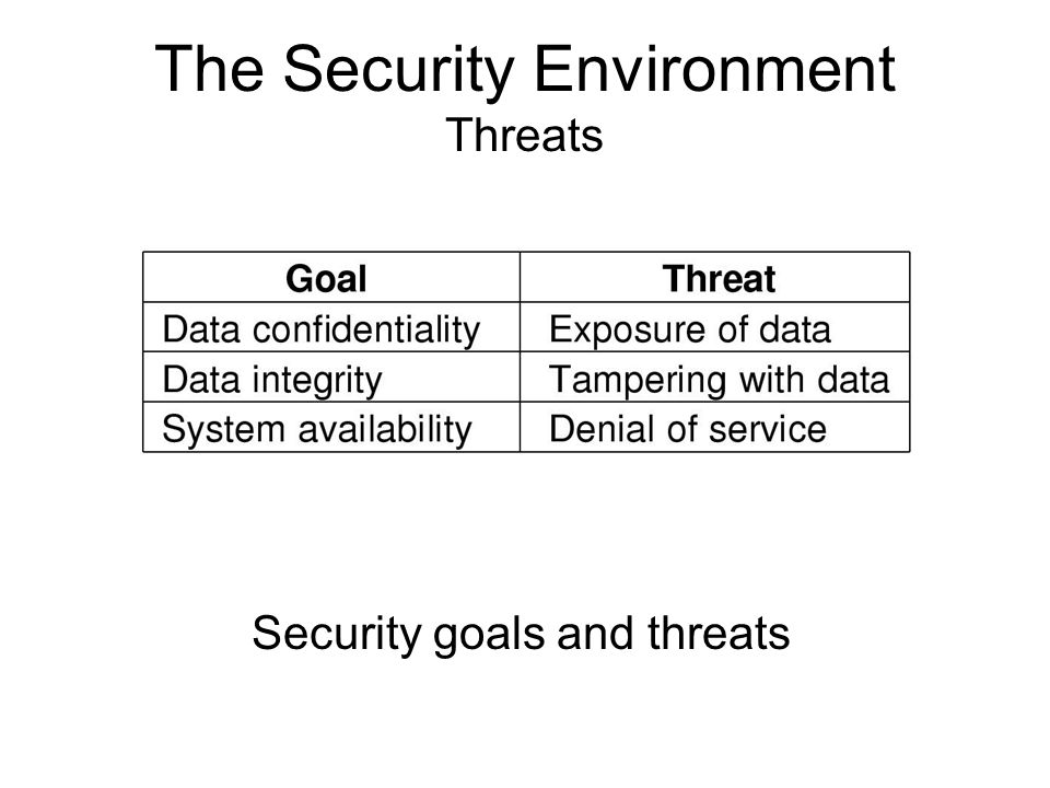 The Security Environment Threats Security goals and threats