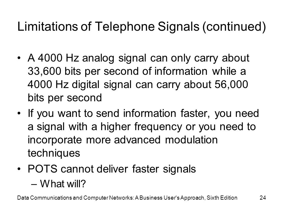 Data Communications and Computer Networks: A Business User s Approach, Sixth Edition24 Limitations of Telephone Signals (continued) A 4000 Hz analog signal can only carry about 33,600 bits per second of information while a 4000 Hz digital signal can carry about 56,000 bits per second If you want to send information faster, you need a signal with a higher frequency or you need to incorporate more advanced modulation techniques POTS cannot deliver faster signals –What will