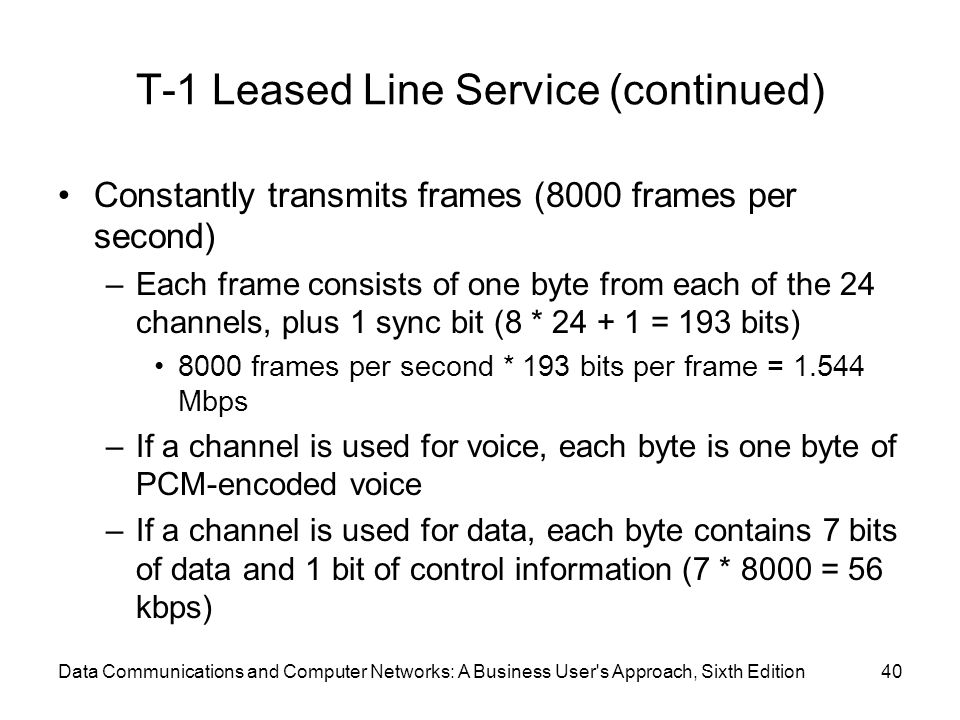 Data Communications and Computer Networks: A Business User s Approach, Sixth Edition40 T-1 Leased Line Service (continued) Constantly transmits frames (8000 frames per second) –Each frame consists of one byte from each of the 24 channels, plus 1 sync bit (8 * 24 + 1 = 193 bits) 8000 frames per second * 193 bits per frame = 1.544 Mbps –If a channel is used for voice, each byte is one byte of PCM-encoded voice –If a channel is used for data, each byte contains 7 bits of data and 1 bit of control information (7 * 8000 = 56 kbps)