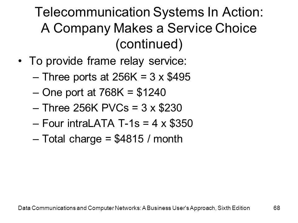 Data Communications and Computer Networks: A Business User s Approach, Sixth Edition68 Telecommunication Systems In Action: A Company Makes a Service Choice (continued) To provide frame relay service: –Three ports at 256K = 3 x $495 –One port at 768K = $1240 –Three 256K PVCs = 3 x $230 –Four intraLATA T-1s = 4 x $350 –Total charge = $4815 / month