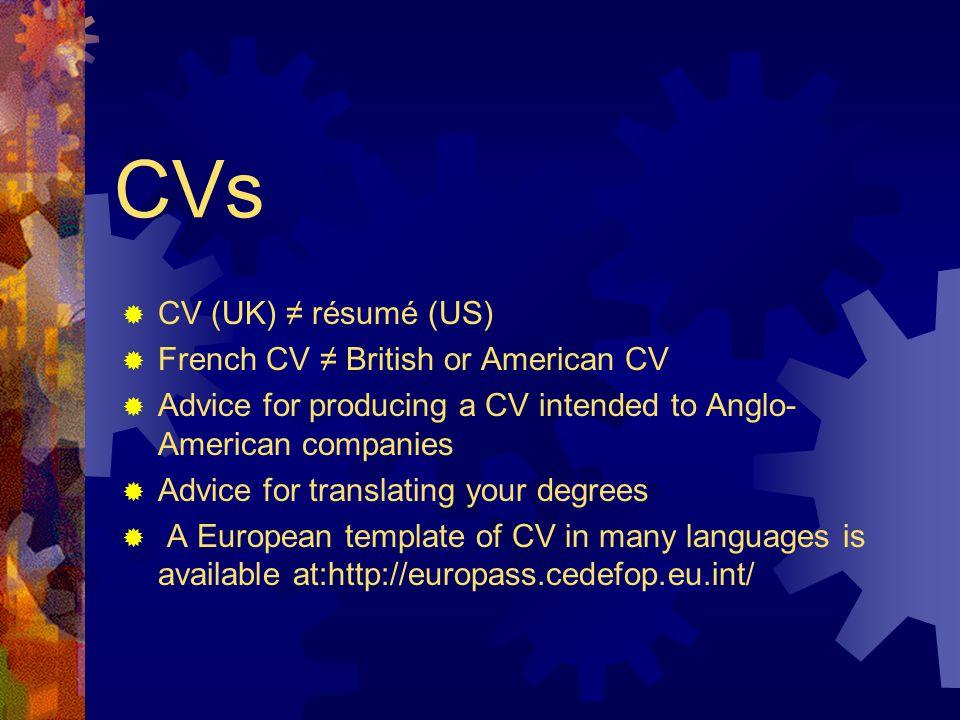 Cvs cv uk rsum us french cv british or american 2 yelopaper Image collections
