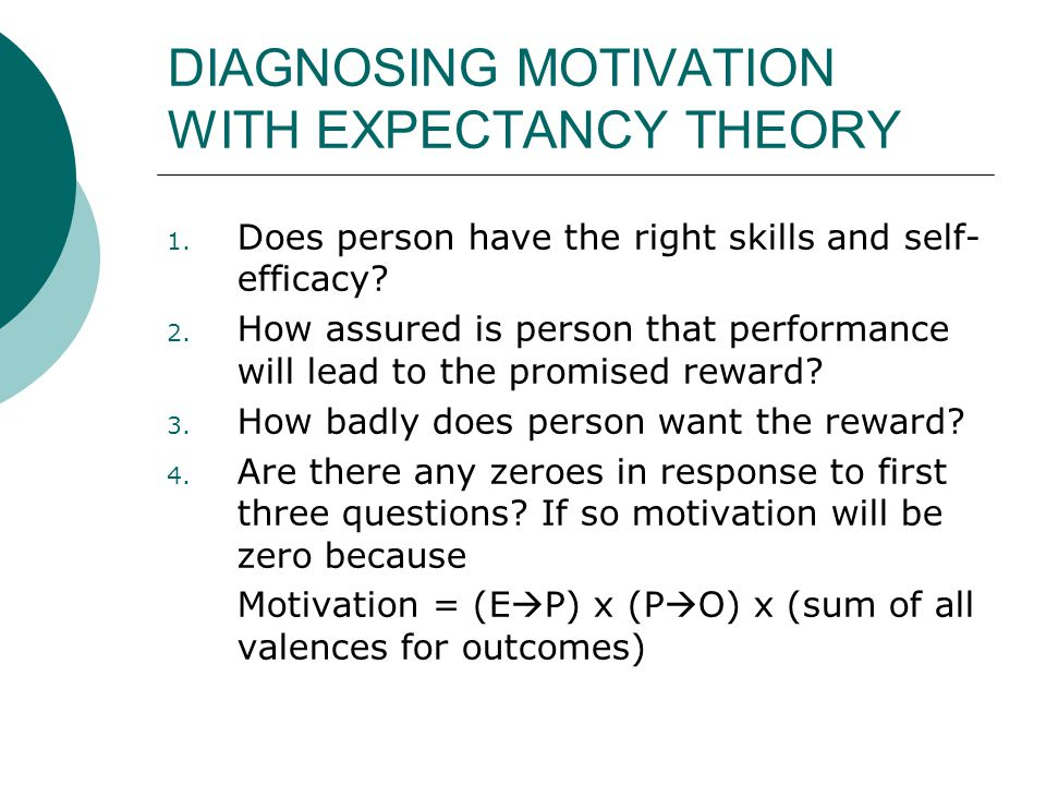 DIAGNOSING MOTIVATION WITH EXPECTANCY THEORY 1. Does person have the right skills and self- efficacy? 2. How assured is person that performance will l