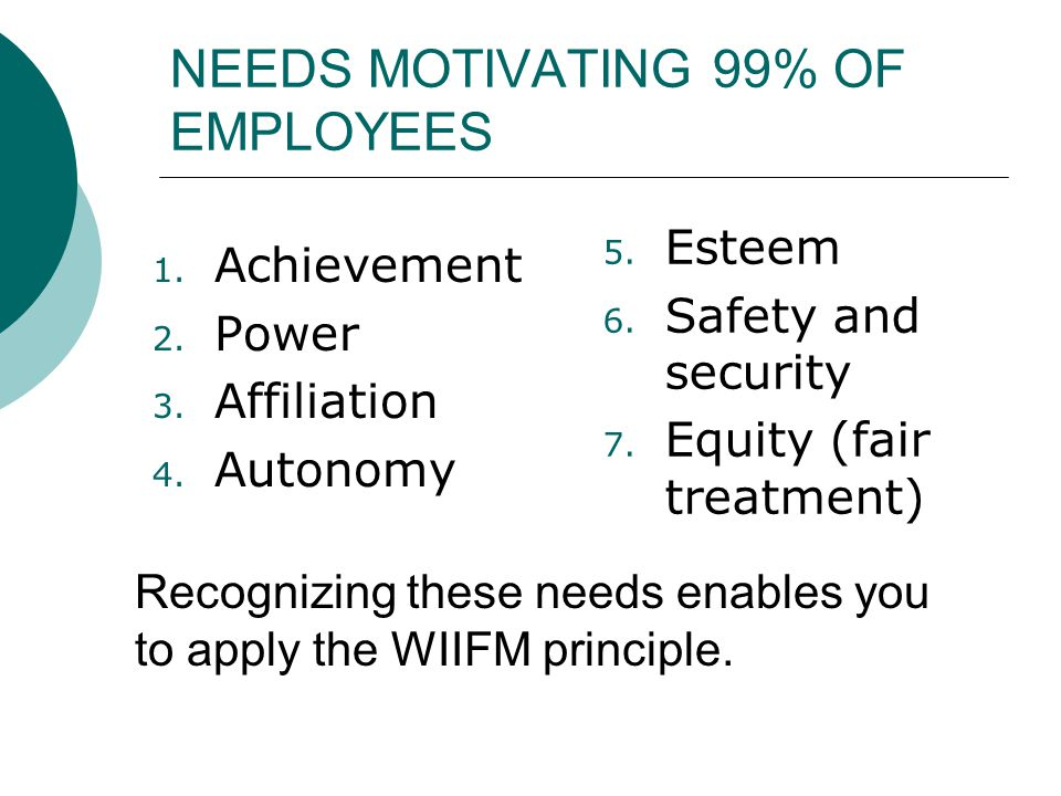 NEEDS MOTIVATING 99% OF EMPLOYEES 1. Achievement 2. Power 3. Affiliation 4. Autonomy 5. Esteem 6. Safety and security 7. Equity (fair treatment) Recog