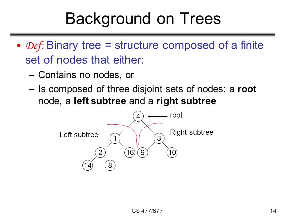 CS 477/67714 Background on Trees Def: Binary tree = structure composed of a finite set of nodes that either: –Contains no nodes, or –Is composed of three disjoint sets of nodes: a root node, a left subtree and a right subtree root Right subtree Left subtree