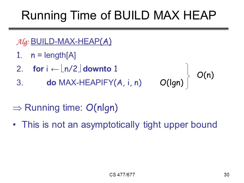 CS 477/67730 Running Time of BUILD MAX HEAP  Running time: O(nlgn) This is not an asymptotically tight upper bound Alg: BUILD-MAX-HEAP (A) 1.n = length[A] 2.