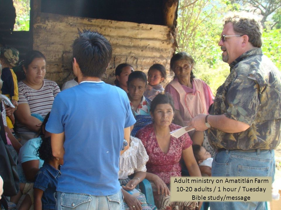 Adult ministry on Amatitlán Farm adults / 1 hour / Tuesday Bible study/message