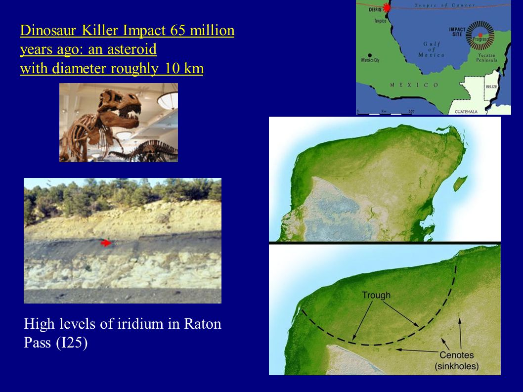 Dinosaur Killer Impact 65 million years ago: an asteroid with diameter roughly 10 km High levels of iridium in Raton Pass (I25)