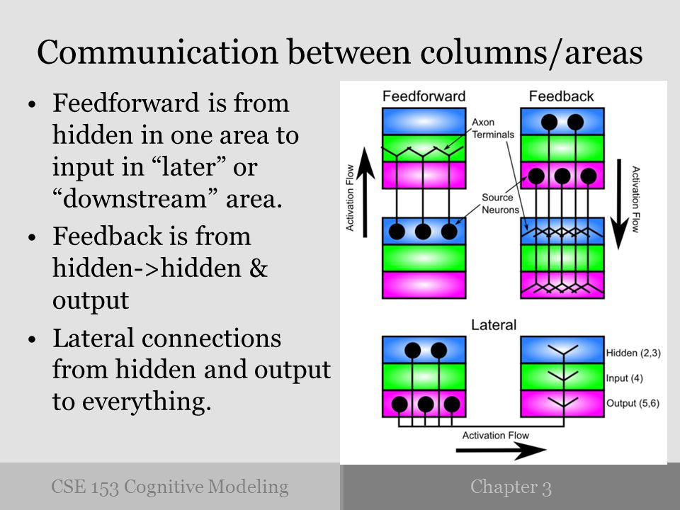 CSE 153 Cognitive ModelingChapter 3 Communication between columns/areas Feedforward is from hidden in one area to input in later or downstream area.