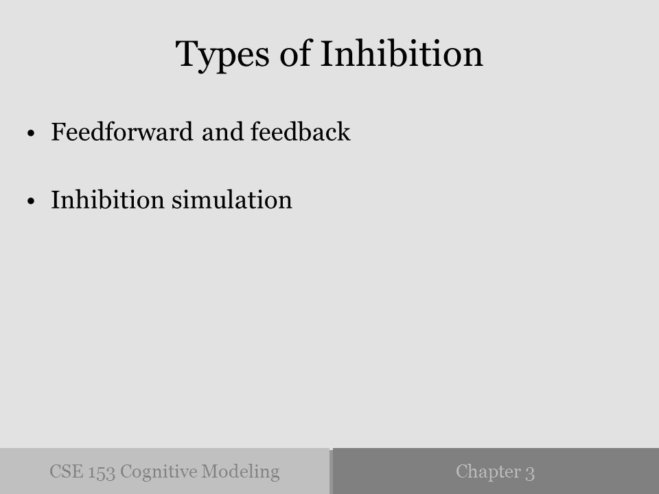 CSE 153 Cognitive ModelingChapter 3 Types of Inhibition Feedforward and feedback Inhibition simulation