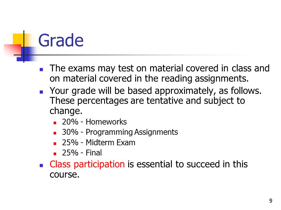 9 Grade The exams may test on material covered in class and on material covered in the reading assignments.