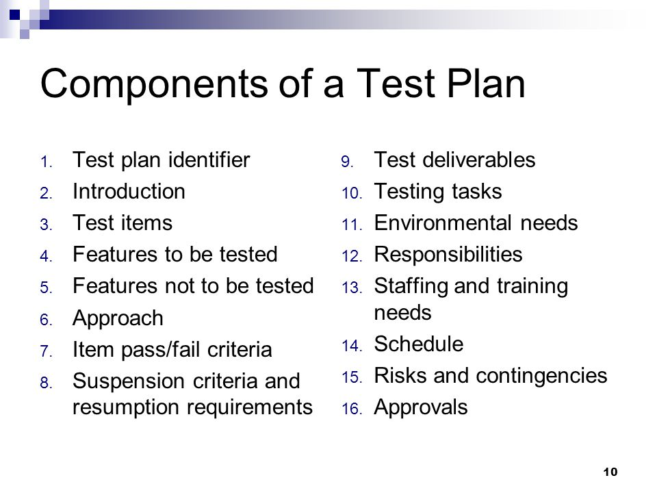 10 Components of a Test Plan 1. Test plan identifier 2.