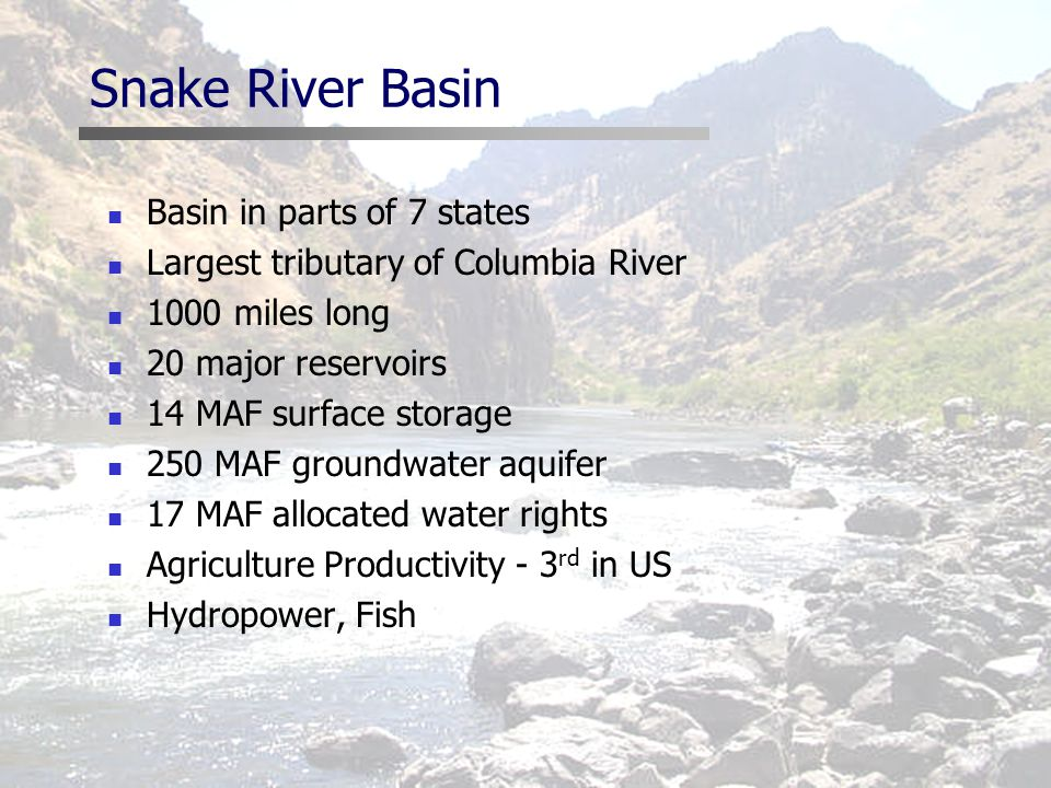 Snake River Basin Basin in parts of 7 states Largest tributary of Columbia River 1000 miles long 20 major reservoirs 14 MAF surface storage 250 MAF groundwater aquifer 17 MAF allocated water rights Agriculture Productivity - 3 rd in US Hydropower, Fish