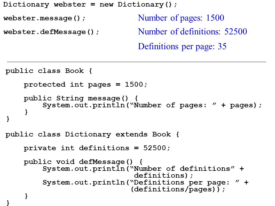 Dictionary webster = new Dictionary(); webster.message(); webster.defMessage(); public class Book { protected int pages = 1500; public String message() { System.out.println( Number of pages: + pages); } public class Dictionary extends Book { private int definitions = 52500; public void defMessage() { System.out.println( Number of definitions + definitions); System.out.println( Definitions per page: + (definitions/pages)); } Number of pages: 1500 Number of definitions: Definitions per page: 35