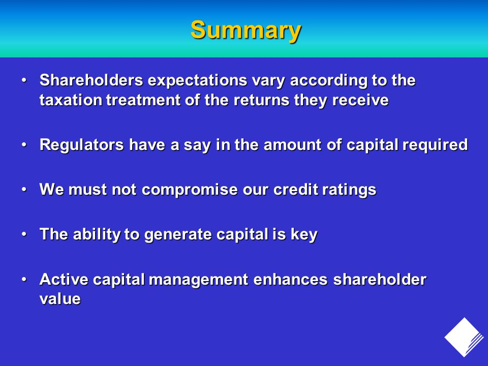 Summary Shareholders expectations vary according to the taxation treatment of the returns they receiveShareholders expectations vary according to the taxation treatment of the returns they receive Regulators have a say in the amount of capital requiredRegulators have a say in the amount of capital required We must not compromise our credit ratingsWe must not compromise our credit ratings The ability to generate capital is keyThe ability to generate capital is key Active capital management enhances shareholder valueActive capital management enhances shareholder value