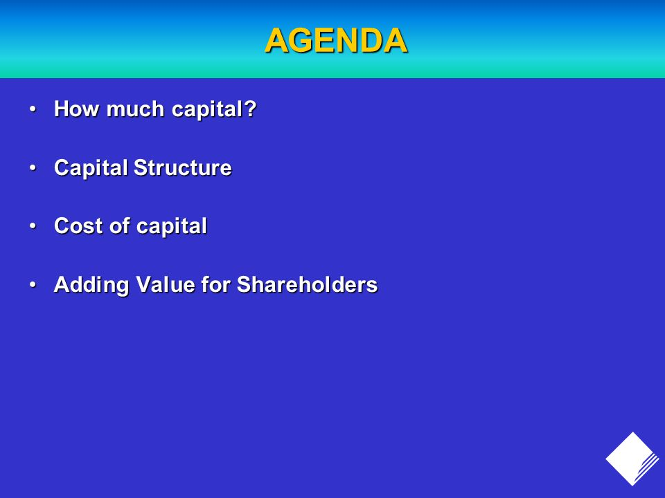 AGENDA How much capital How much capital.