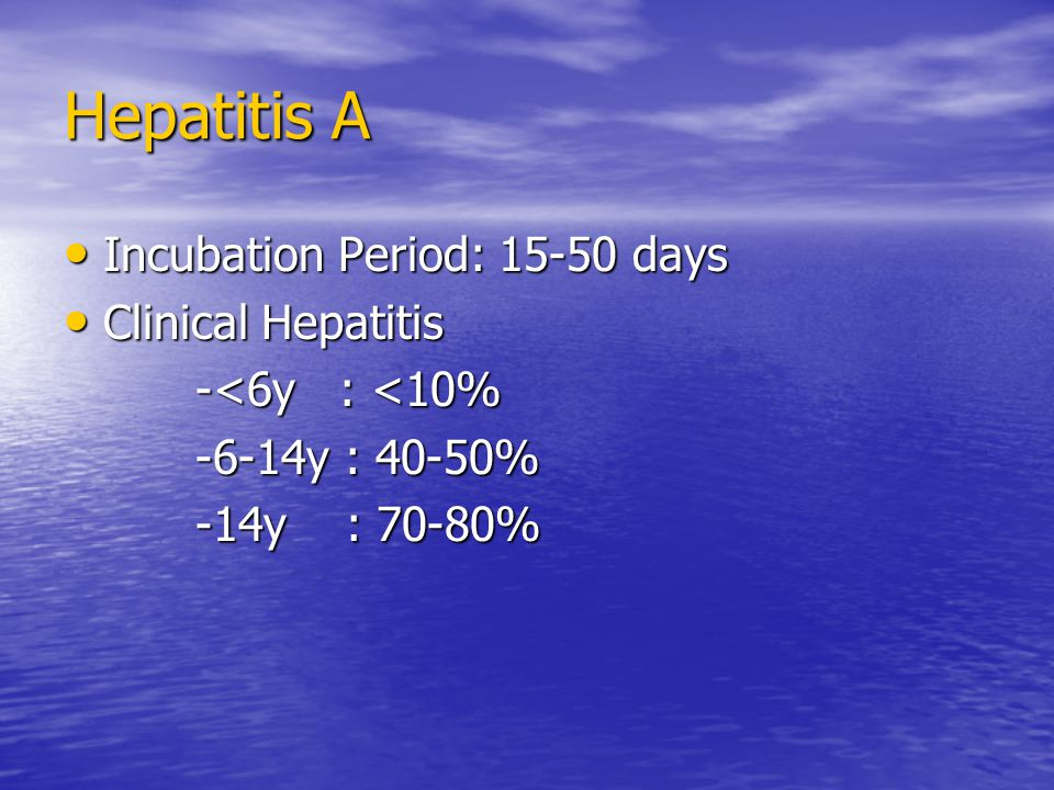 Hepatitis A Incubation Period: days Incubation Period: days Clinical Hepatitis Clinical Hepatitis -<6y : <10% -<6y : <10% -6-14y : 40-50% -6-14y : 40-50% -14y : 70-80% -14y : 70-80%