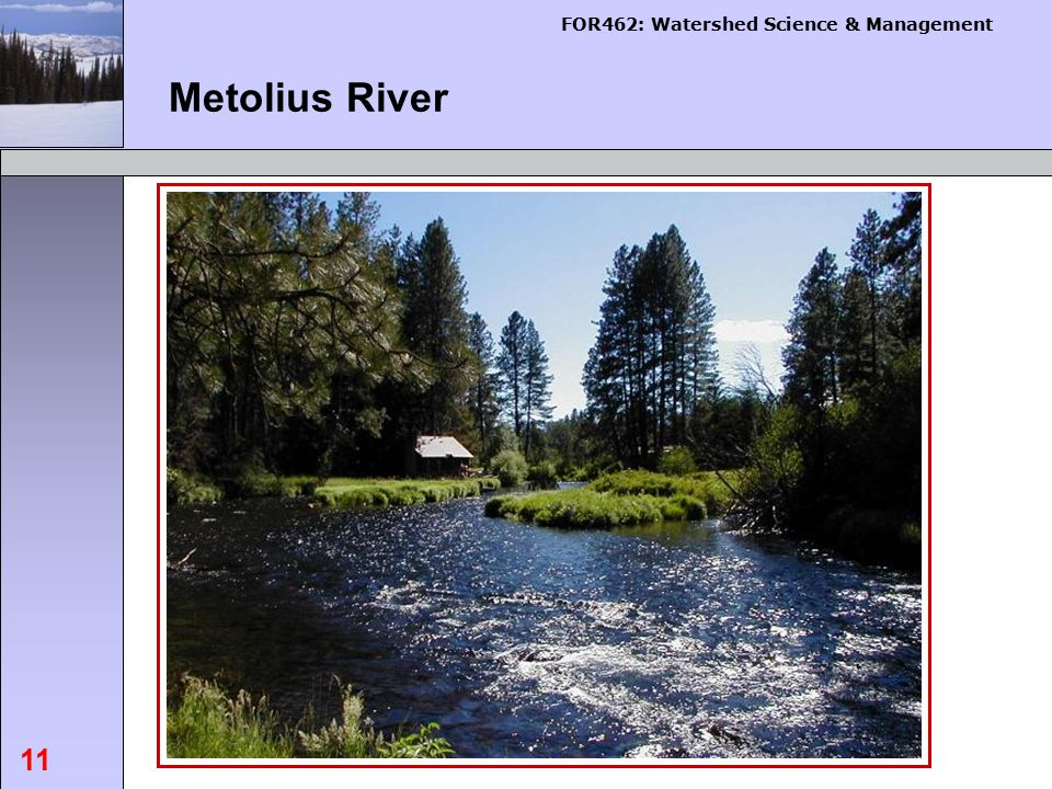 FOR462: Watershed Science & Management 11 Metolius River