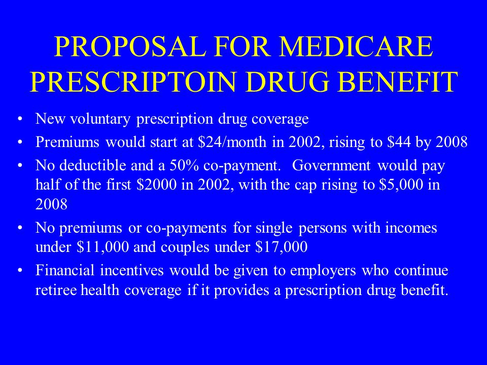 PROPOSAL FOR MEDICARE PRESCRIPTOIN DRUG BENEFIT New voluntary prescription drug coverage Premiums would start at $24/month in 2002, rising to $44 by 2008 No deductible and a 50% co-payment.