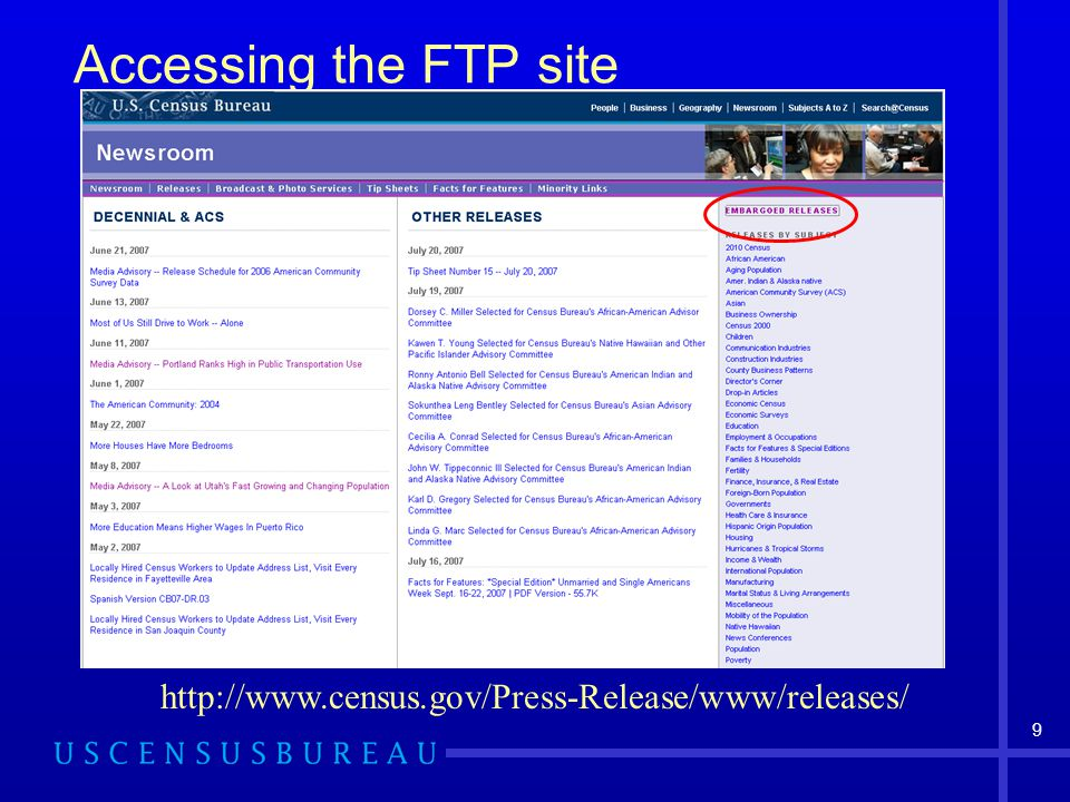 9 Accessing the FTP site