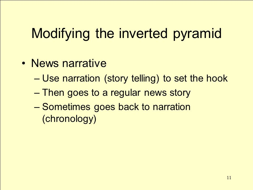 11 Modifying the inverted pyramid News narrative –Use narration (story telling) to set the hook –Then goes to a regular news story –Sometimes goes back to narration (chronology)