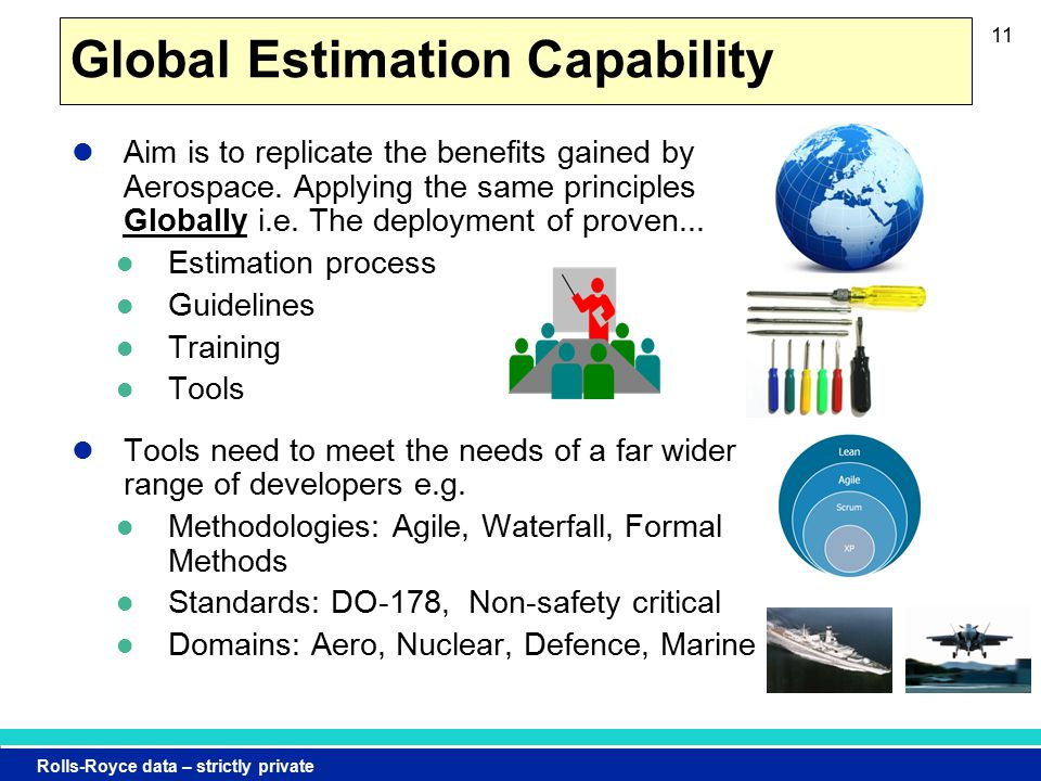 Rolls-Royce data – strictly private Global Estimation Capability Aim is to replicate the benefits gained by Aerospace.