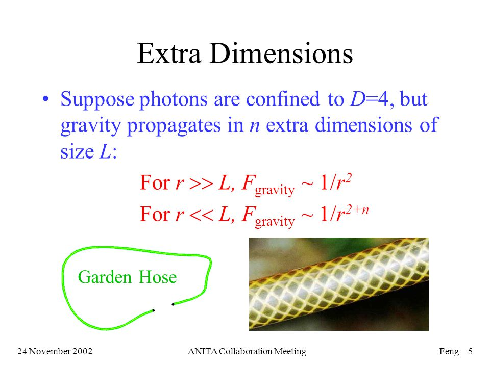 24 November 2002ANITA Collaboration MeetingFeng 5 Extra Dimensions Suppose photons are confined to D=4, but gravity propagates in n extra dimensions of size L: For r  L, F gravity ~ 1/r 2 For r  L, F gravity ~ 1/r 2+n Garden Hose