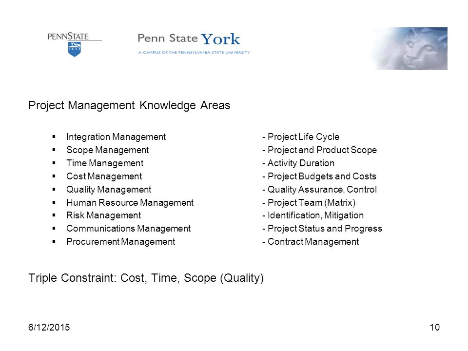 6/12/ Project Management Knowledge Areas  Integration Management- Project Life Cycle  Scope Management- Project and Product Scope  Time Management- Activity Duration  Cost Management- Project Budgets and Costs  Quality Management- Quality Assurance, Control  Human Resource Management - Project Team (Matrix)  Risk Management- Identification, Mitigation  Communications Management- Project Status and Progress  Procurement Management- Contract Management Triple Constraint: Cost, Time, Scope (Quality)