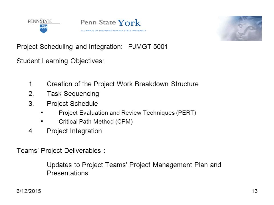 6/12/ Project Scheduling and Integration: PJMGT 5001 Student Learning Objectives: 1.Creation of the Project Work Breakdown Structure 2.Task Sequencing 3.Project Schedule  Project Evaluation and Review Techniques (PERT)  Critical Path Method (CPM) 4.Project Integration Teams' Project Deliverables : Updates to Project Teams' Project Management Plan and Presentations