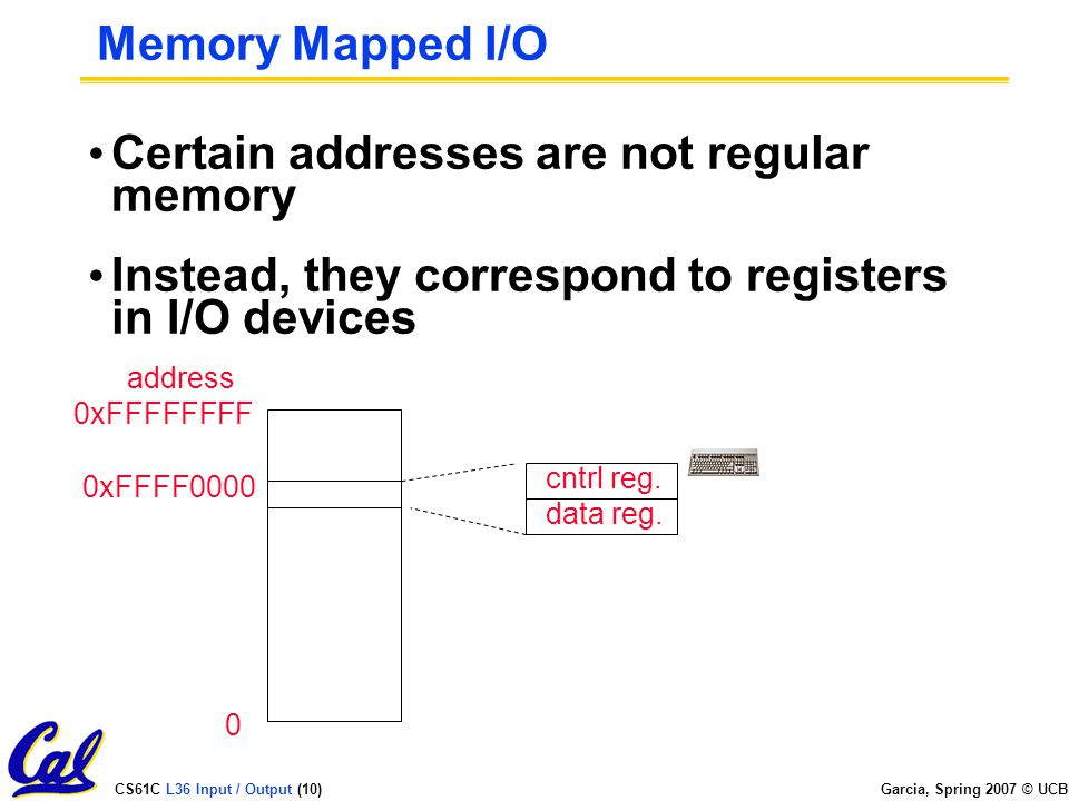 CS61C L36 Input / Output (10) Garcia, Spring 2007 © UCB Memory Mapped I/O Certain addresses are not regular memory Instead, they correspond to registers in I/O devices cntrl reg.