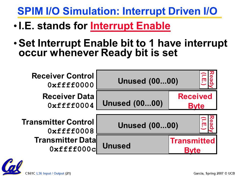 CS61C L36 Input / Output (21) Garcia, Spring 2007 © UCB SPIM I/O Simulation: Interrupt Driven I/O I.E.