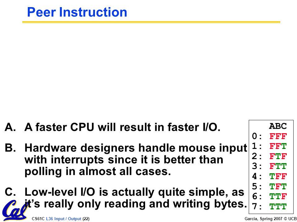 CS61C L36 Input / Output (22) Garcia, Spring 2007 © UCB Peer Instruction A.