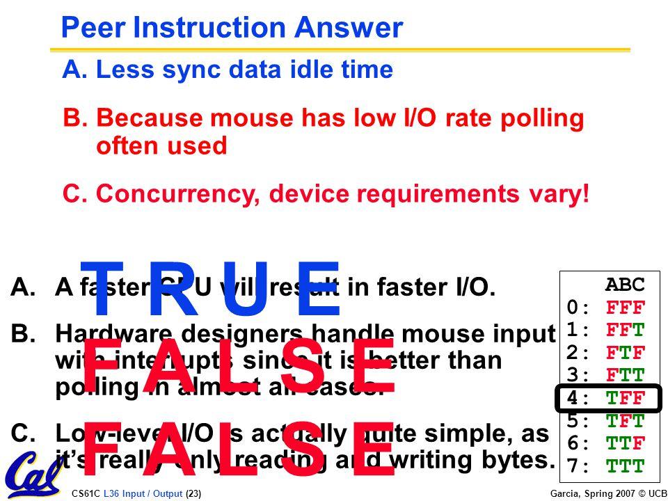 CS61C L36 Input / Output (23) Garcia, Spring 2007 © UCB Peer Instruction Answer A.