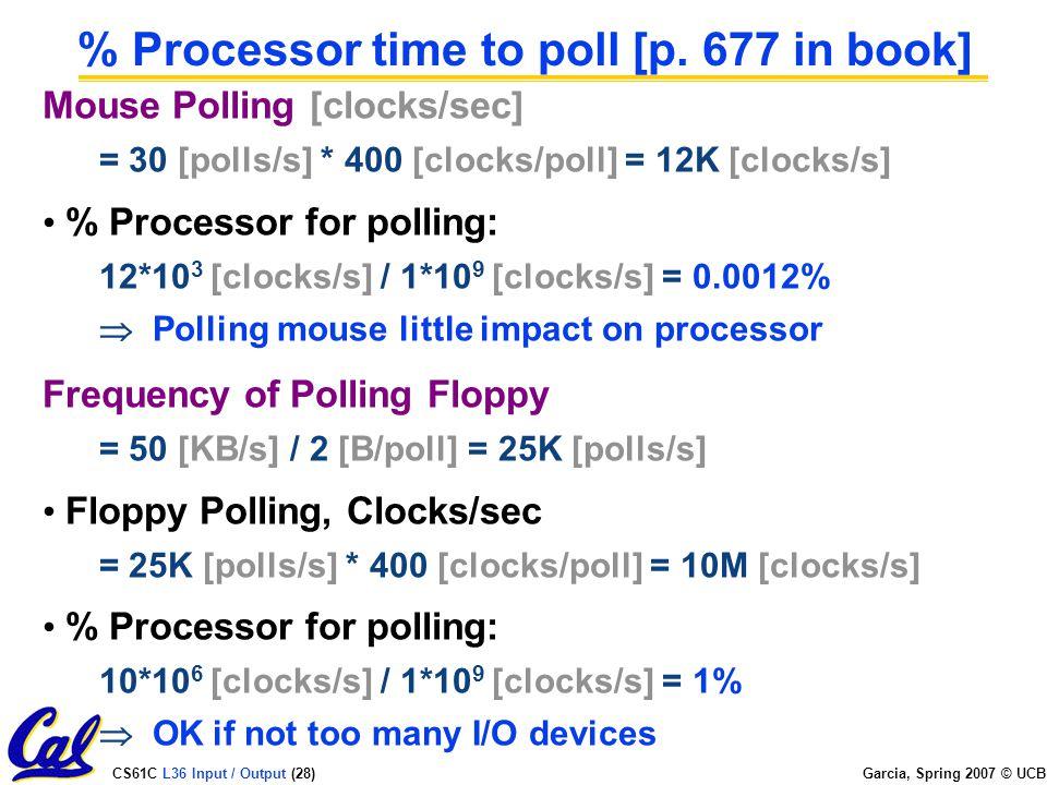 CS61C L36 Input / Output (28) Garcia, Spring 2007 © UCB % Processor time to poll [p.