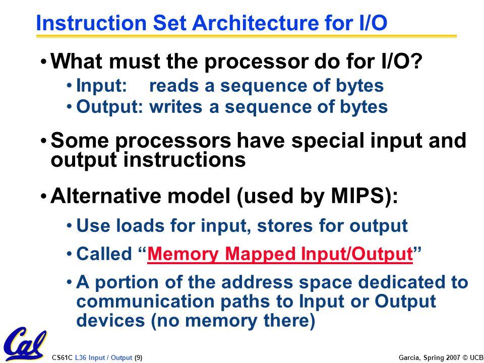 CS61C L36 Input / Output (9) Garcia, Spring 2007 © UCB Instruction Set Architecture for I/O What must the processor do for I/O.