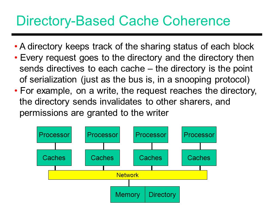 Directory-Based Cache Coherence A directory keeps track of the sharing status of each block Every request goes to the directory and the directory then sends directives to each cache – the directory is the point of serialization (just as the bus is, in a snooping protocol) For example, on a write, the request reaches the directory, the directory sends invalidates to other sharers, and permissions are granted to the writer Processor Caches Processor Caches Memory Network Directory